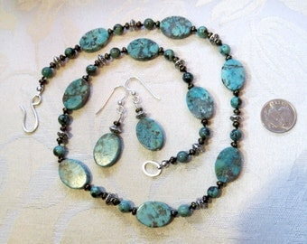 African Turquoise Necklace Earring Set