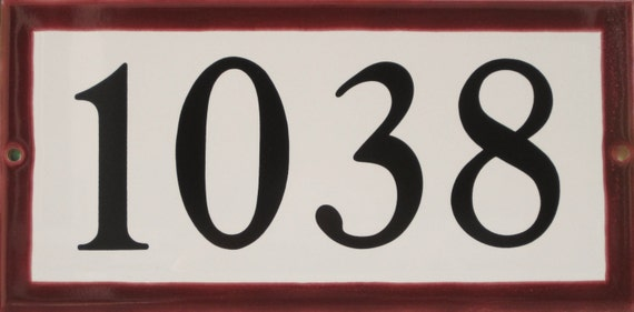 Tile House Number /BURGUNDY/ 5 x 10/ Address plaque/ white or cream