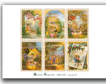 Fairy Calendar Pages 2.5 x 3.5 ATC ACEO size Six Months Victorian Antique Fairyland 2.5x3.5 Card Size Digital Collage Instant Download 652