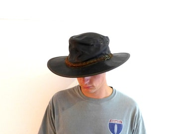 Vintage Australian Akubra style brown leather stockman hat, Grizzly outback hat