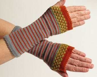 Merino Wool Wrist Warmer Fingerless Gloves, Gray, Orange and Chartreuse, Long