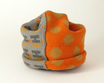 Ski Hat Beanie, Gray and Orange, Knit and Felted Merino Wool, Adult Size
