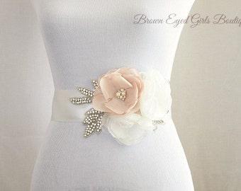 Blush Bridal Sash with Rhinestone Applique Embellishment , Blush and Ivory Bridal Belt, Rhinestone Bridal Sash