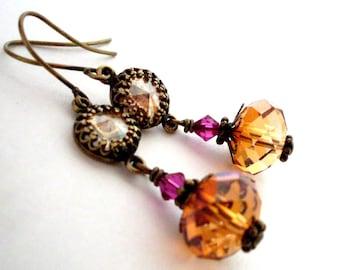 Honey crystal dangle earrings, antiqued brass, champagne rhinestone, brandy crystal bead, Austrian crystal set stone, crystal bead  jewelry