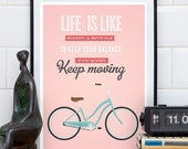 Quote print, motivational art, Bike poster, Bicycle art, Pink wall art, inspirational quote, positive art, Retro poster, typography print