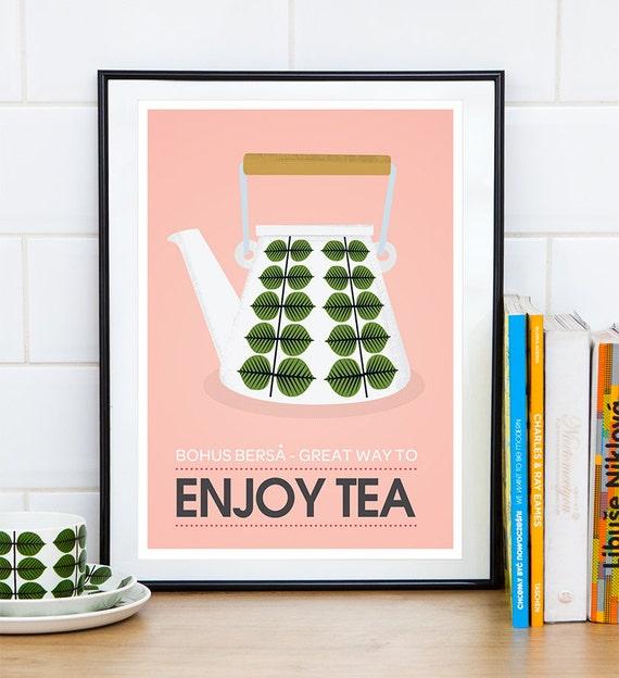 Tea print tea poster kitchen wall art retro poster vintage for Kitchen wall prints