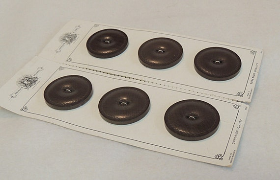 "6 Vintage 1.5"" Czecho-Slovakia Smooth  Brown Leather Buttons On Card Nouveaute De Paris"