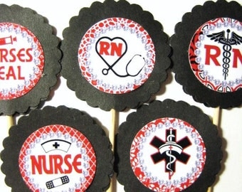 15 RN Nurse Party Picks - Cupcake Toppers - Toothpicks - Food Picks - FP524