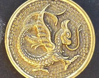 Large Antique Metal Brass Dragon Button