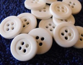 "15 White Thick Rim Small Round Buttons Size 9/16""."