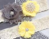 Wedding Garter Belt Set Bridal Garter Set Ivory Lace Garter Belt Yellow Garter Set Rhinestone Crystal Pearl Garter GR190LX