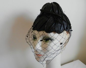 Vintage Bes Ben Black Leaf Hat with Perfect Veil