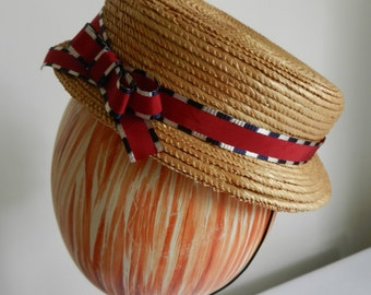Restored Chanda Straw Hat with Red White and Blue Vintage Ribbon Patriotic July 4th Independence Day circa 1950s