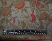 Polyester Charmeuse Fabric in Tones of Green & Orange Vintage 2.75 Yards X 44 Inches