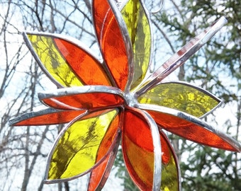 Stained glass 3D Flower Twirl yellow orange outdoor garden art patio decoration sculpture suncatcher