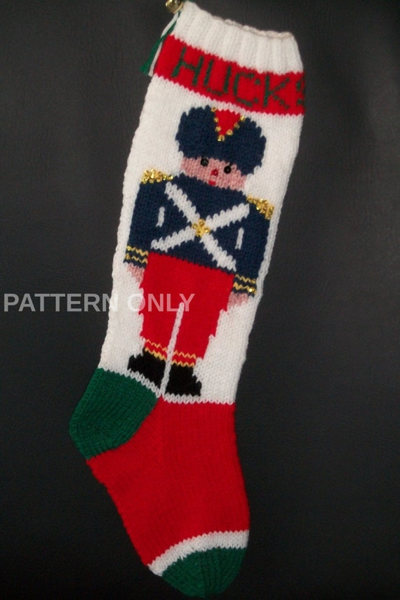 PDF Pattern Only Hand Knitted Toy Soldier Christmas Stocking