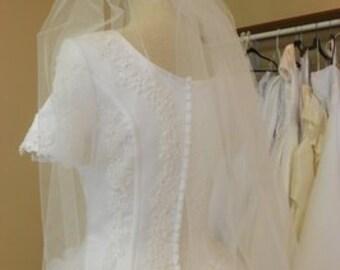 """Elbow wedding veil, short 30"""" veil, white, ivory, diamond white"""