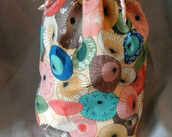 Medium Knitting Project Drawstring Bag bamboo umbrella print