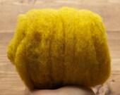 Goldenrod Yellow Needle Felting Wool, Wool Batting, Batts, Wet Felting, Spinning, Dyed Felting Wool, Mustard, Saffron, Fiber Art Supplies