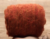 Rust Orange Needle Felting Wool, Wool Batting, Batts, Wet Felting, Spinning, Dyed Felting Wool, Fiber Art Supplies