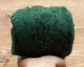 Wool Batting, Needle Felting Wool, Evergreen, Batts, Wet Felting, Spinning, Dyed Felting Wool, Forest Green, Fiber Art Supplies