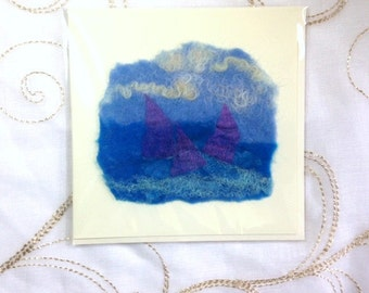 Handmade Felt Blank Card Pink Yachts Sailing Boats Blue White Sea Ocean Birthday Fathers Day Holiday Thank you