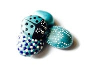 Painted Rocks, Set of Four, Pet Rocks,  Pearl Turquoise