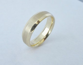 Gold band wedding band for men 6mm comfort fit beveled edge