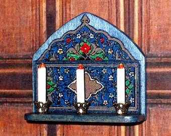 Blue Gothic Candle Sconce, Dollhouse Miniature, 1/12 Scale, Hand Made
