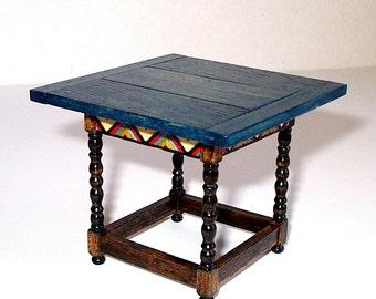 Blue Tavern Table, Folk Art Dollhouse Miniature, 1/12 Scale, Hand Made