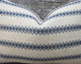 3BM Designer Pillow Cover 16 x 16 -  Embroidered Stripe Blue
