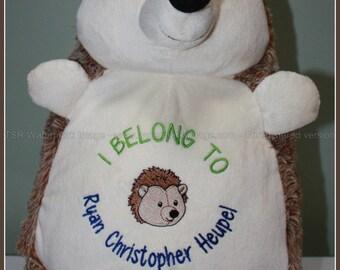Hedgehog, I belong to - personalized hedgehog, stuffed animal