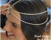 Wedding Headpiece Weddings Bridal Headpiece Hair Jewelry Pearl Chain Headpiece Headdress Beach Wedding Boho Wedding Pearl Luster V