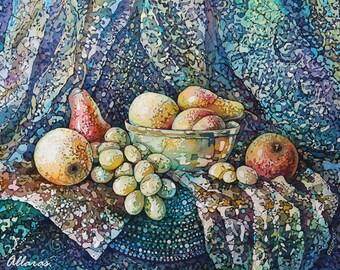 Still Life Painting On Silk. Original Painting On Silk Still Life With  Fruit. 12
