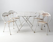 FREE SHIP mid-century patio set, white Salterini style metal table and chairs