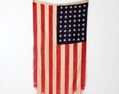 vintage American flag with 48 stars, flag of the United States of America