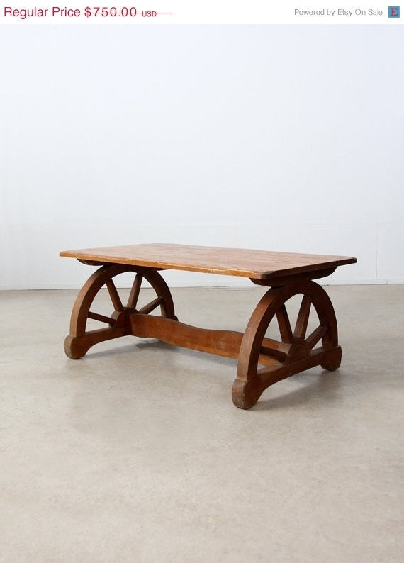 1940s Monterey Style Coffee Table Wagon Wheel Table By 86home