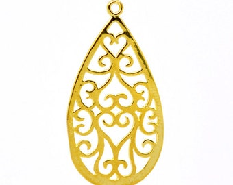 2pcs Gold Plated Pattern Filigree Teardrop Pendant - 28x15mm