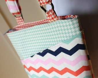 Chevron and Houndstooth Cross Body Hipster Bag