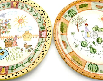 Colorful Vintage Pottery Plates - Set of 2 - 10.5 inch - Farmhouse Country Kitchen Decor - Wall Art