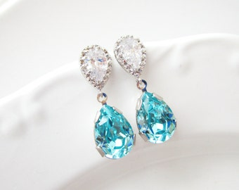 Turquoise Blue Earrings,Destination Beach Wedding Jewelry,Cubic Zirconia Sterling Silver Post,Teal Blue Earrings,Swarovski Crystal Earrings