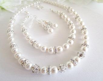 Pearl Jewelry Set, 3 Piece Necklace Bracelet Earrings Set Swarovski Pearl and Rhinestone Jewelry Set Bridal Jewely Set Three Piece Jewelry