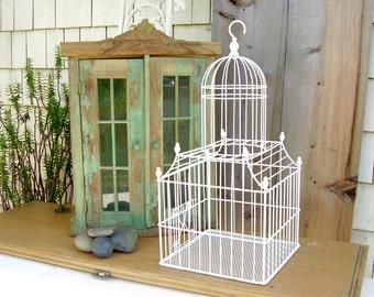 Vintage Birdcage Large Metal Dome White Wire Bird Cage Shabby chic Wedding Card Holder Garden Decor