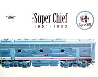 Vintage Train Art Blue Print Santa Fe Railways Lithograph Super Chief Luxury Locomotive 1950s Railroad Industrial Framed Transportation Art
