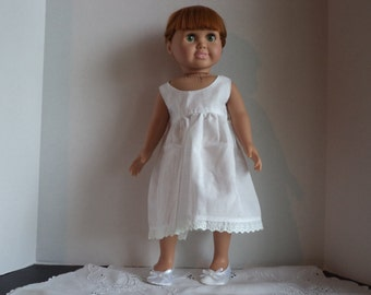 White Pinafore,  Sundress, Dress, 18 Inch Doll Clothes,