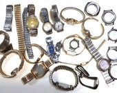 Lot of Watch Parts - Dials Cases Bodies Case Glass watch movement - Steampunk Assemblage Supplies