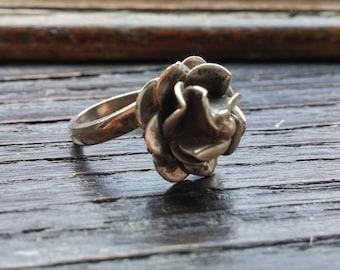 SALE - Sterling Silver Rose Ring - Adjustable Size 6-10