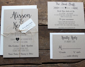 Rustic, Kraft and Black Wedding Invitation Set, Calligraphy Font with Hearts and Custom Tag, Neutral, Cream