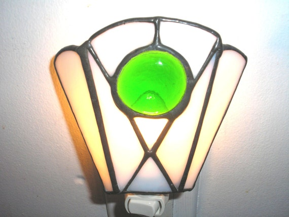 LT Stained glass white green night light lamp simple design made with green clear glass nugget
