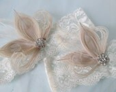 Peacock Wedding Garters, Ivory Lace Garter, Rustic Garter, Vintage Bridal Garters w/ Rhinestone & Feathers, Country Bride